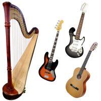 Zupfinstrumente Gitarre E-Gitarre E-Bass Harfe