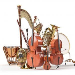 Orchesterinstrumente Pauke Harfe klarinette Kontrabass Violoncello Violine Waldhorn Tuba Snare Trommel Timpani